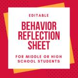 Behavior Reflection Sheet {editable}