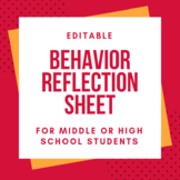 Behavior Reflection Sheet (editable)