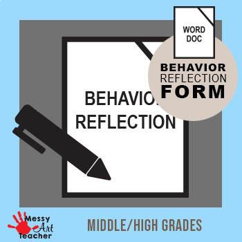 Behavior Reflection Sheet for Middle/High School