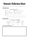 Behavior Reflection Sheet for Primary Grades