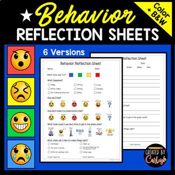Behavior Reflection Sheets with Emojis