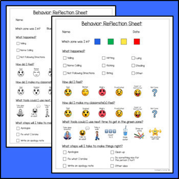 Behavior Reflection Sheets