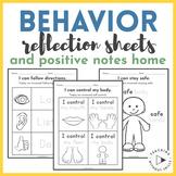 Behavior Reflection Sheets and Positive Notes Home | Kinde