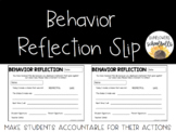 Behavior Reflection Slip