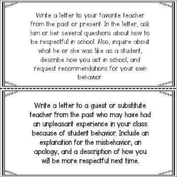Behavior Reflection Task Cards