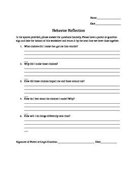 Behavior Reflection Template