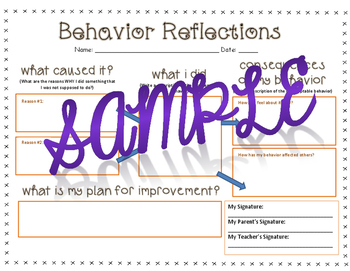 "Behavior Reflection ""Think Sheet"""