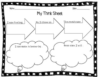 Behavior Reflection Think Sheet