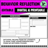 Behavior Reflection Think Sheet (Digital and Printable)