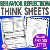 Behavior Reflection   Think Sheet and Apology Letter   Classroom Management