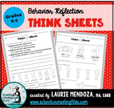 Behavior Reflection Think Sheets