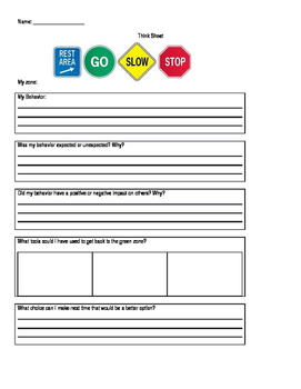Behavior Reflection Worksheet