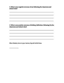Behavior Reflection Writing Task