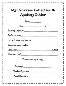 Student apology letter teaching resources teachers pay teachers behavior reflection and apology letter behavior reflection and apology letter maxwellsz