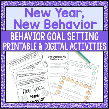Behavior Reflection and Goal Setting - New Year's Themed