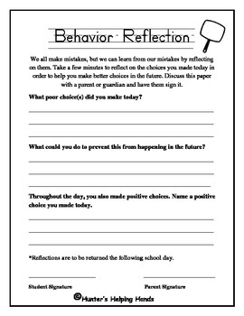 Behavior Reflection for Students