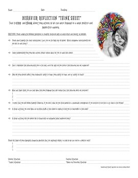 Behavior Reflection/Think Sheet