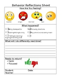 Behavior Reflections Sheet