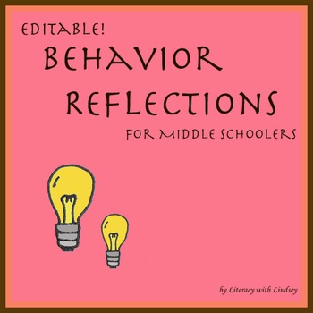 Behavior Reflections for Middle Schoolers - Editable