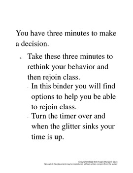 Behavior Refocus Options / Time Out