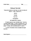 Behavior Reminder - Note to Parents
