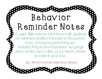Behavior Reminder Notes