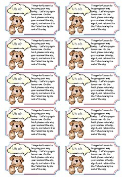 Behavior Reminder cards