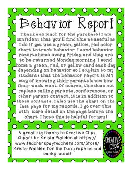 Behavior Report, Homework Return, Parent Must Sign