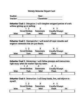 Behavior Report Card