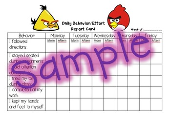 Behavior Report Card - Angry Birds