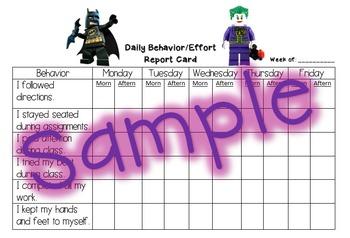 Behavior Report Card - Lego Batman