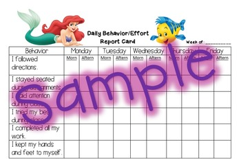 Behavior Report Card - Little Mermaid
