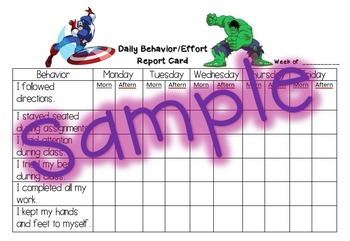 Behavior Report Card - Marvel Super Hero