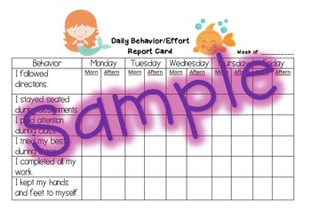 Behavior Report Card - Mermaid
