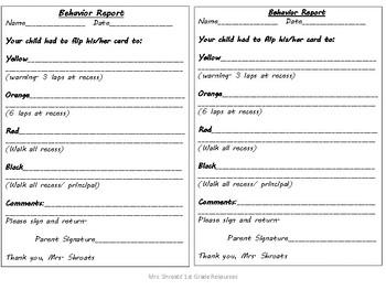 Behavior Report Form
