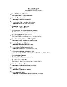 Behavior Report Spanish/English