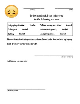 Behavior Reporting Form