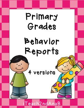 Behavior Reports for Primary Grades