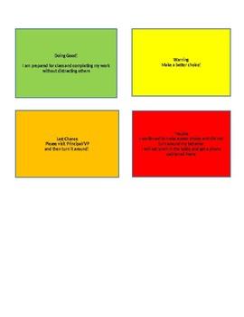 Behavior Reward Chart and Warning Cards