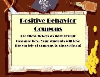Behavior Reward Coupons Pirate Theme