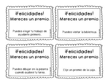 Behavior Reward Coupons in Spanish - Classroom Management Tool