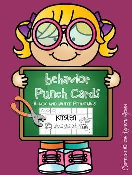 Behavior / Reward Punch Card (BLACK AND WHITE)