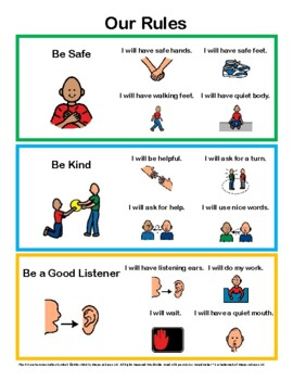 Behavior Rules Posters With Visuals - Social Skills - Self-help Skills