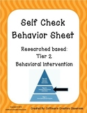 Behavior Self Check Sheet- Tier 2 Intervention