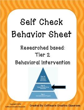 Behavior Self Check Sheet- Tier 2 Intervention