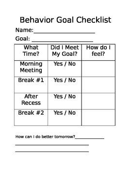 Behavior Self-Monitoring Checklist