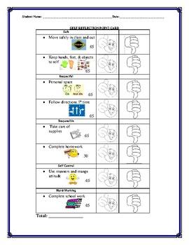 Behavior Self Reflection Point Card