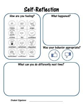 Behavior Self Reflection Sheet