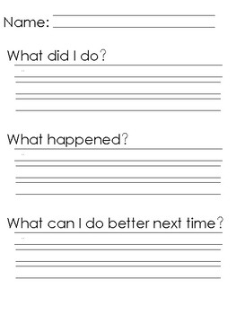 Behavior Self Report and Reflection Forms Freebie