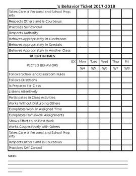 Behavior Sheet 2017-2018